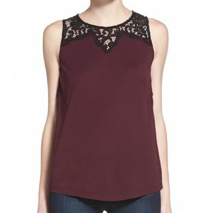 Chelsea28 Lace Illusion Shell - Burgundy size M